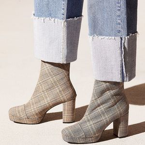 New Free People Day For Night Plaid Platform Boots